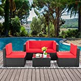 Walsunny 5 Pieces Patio Outdoor Furniture Sets,Low Back All-Weather Rattan Sectional Sofa with Tea Table&Washable Couch Cushions (Black Rattan) (Red)