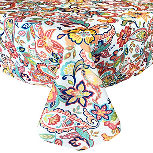 Newbridge Boho Chic Paisley Indoor/Outdoor Fabric Tablecloth - Bold Colorful Paisley and Floral Print Water, Stain, Mildew, Fade Resistant Tablecloth, 60 Inch X 120 Inch Oblong/Rectangular