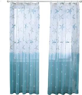BROSHAN Printed Linen Sheer Curtains, Summer Nautical Starfish Blue Ocean Semi Sheer Room Curtain Drapes Turquoise Window Treatments, 1 Panel, Nickel Hooks, 57W x 96L Inch