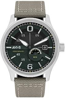 AVI-8 Men's FLYBOY Centenary 1980S Stainless Steel Japanese-Quartz Watch with Leather Strap, Grey, 22 (Model: AV-4061-01)