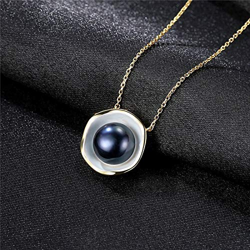 Color Dorado Charm Shell Design Blanco/Negro Collar de Perlas Colgante 925 Joyas de Plata esterlinaB.