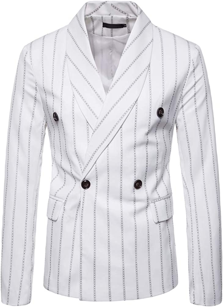 Mens Floral Dress Suit Double Breasted Stripes/Plaids Stylish Casual Blazer Jacket