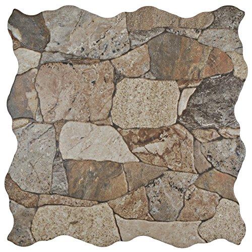 SomerTile Brown/Gray/Green FAZ18ATG Roccia Ceramic Floor and Wall Tile, 16.88