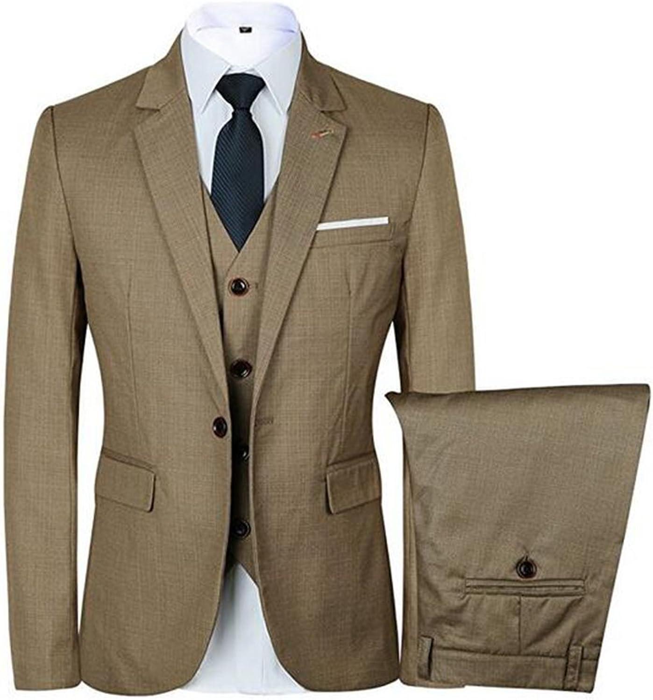 Tsbridal Men 3 Piece Suit One Button Single-Breasted Notch-Lapel Slim Fit Tux Wedding Prom Suits