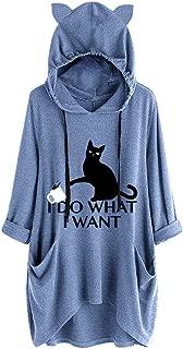 Womens Cute Lazy Lying Cat Printed Solid Color Long Sleeve Sweatshirt Cat Ear Hooded Pocket Tunic Tops