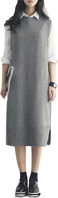 Women's Midi Wool Vest Gilet Round Neck Sleeveless Sweater Dress