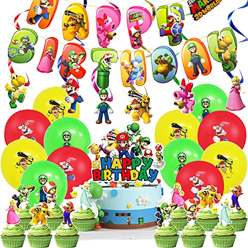 Miotlsy Super Mario Party Supplies Super Mario Bros adornos para cupcakes Mario Globos kit de decoración de fiesta de Mario Ducha de Bebé Fiesta de Cumpleaños