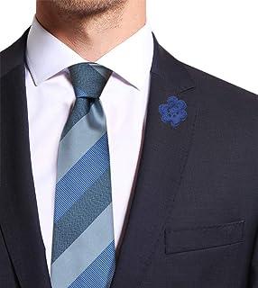 Remo Sartori - Cravatta in Pura Seta Regimental a Righe Larghe Azzurra, Made in Italy, Uomo