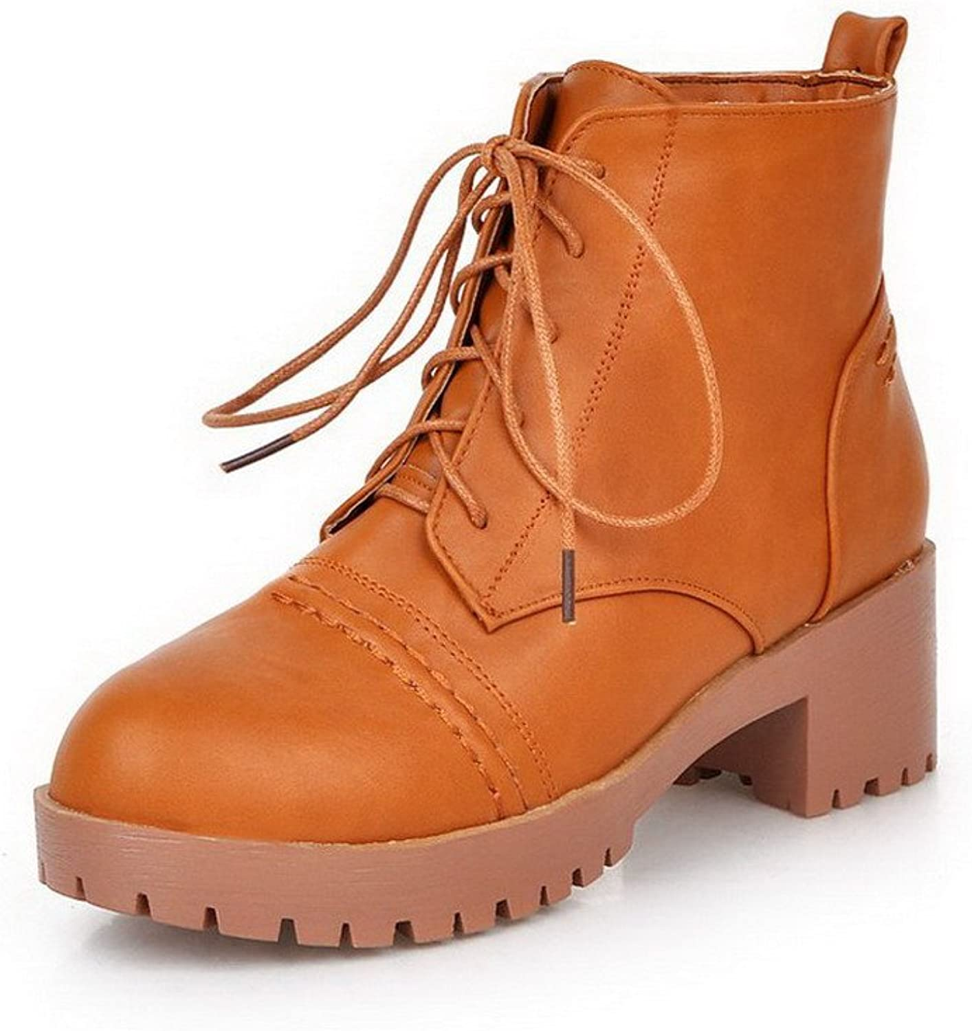 WeenFashion Women's Solid Kitten-Heels Closed Round Toe PU Lace-up Boots