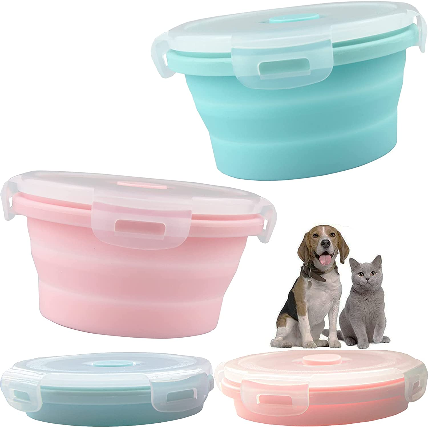 AIKS 2pcs Collapsible Dog Bowls Travel Dog Food Bowl with Lids Silicone Bowls for Dog/Cat Food Water Feeding Pet Feeding Watering Cup Dish for Walking Kennels Camping (12x12x3cm) (Pink & Blue)