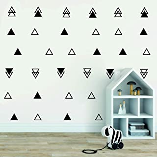 64pcs/ Set Triangles Wall Decor Sticker Solid Hollow Tribal Triangles Pattern Stickers Vinyl Kids Room Bedroom Wall Decal ...