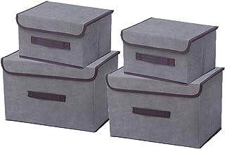 Kewayer Boîtes de Rangement en Tissu avec Couvercles, Caisse de Rangement Pliables avec Poignée, Ensemble de 4 Bacs de Ran...