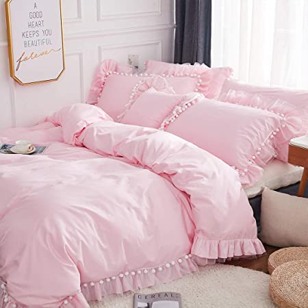 Softta Pink Girls Bedding Set Twin Duvet Cover 3 Pcs Princess Ruffled Lace with Cute Bownot 100/% Cotton Bedding with Zipper Ties 1 Duvet Cover 2 Pillow Shams