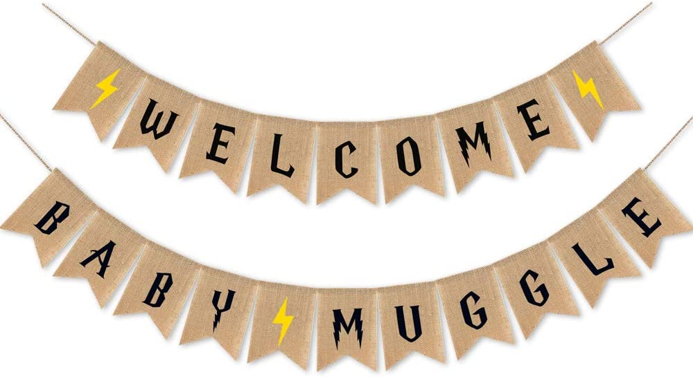 Rustic Baby Shower Party Decorations,Welcome Baby Muggle Burlap