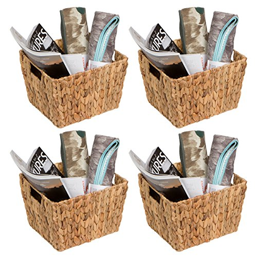 Trademark Innovations Hyacinth Storage Basket with Handles, Rectangular (Set of 4, 11.5')