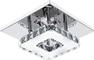 Ganeed 7.9Inch Modern Crystal Chandeliers,LED Ceiling Light,LED Stainless Steel Crystal Mini Square Flush Mount Ceiling Light for Dining Room Living Room Bedroom Hallway (12W / 6500K / Cool White)
