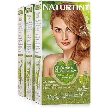 Naturtint Coloración 8C Rubio Cobrizo. Tinte sin Amoniaco. 100% Cobertura de Canas e Hidratación. Ingredientes y Aceites Vegetales. Color Natural y ...