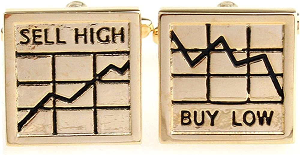 Men's Executive Gold Tone Buy Low Sell High Business Salesman Chart Cufflinks Cuff Links