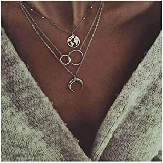 Edary Boho Layered Necklace Moon Necklaces Map Pendant...