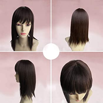 """BESTLEE 14"""" Synthetic Hair Mono Hair Topper for Hair Loss Clip in Hair Top Piece with Air Bangs (Thick Style, Dark Brown)"""