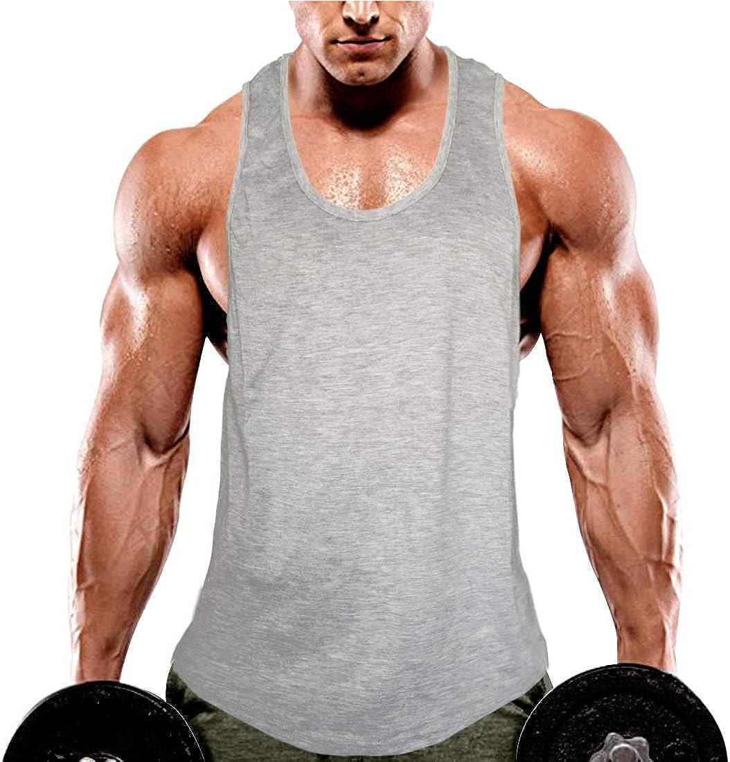 KINGJOZE Men's Stringers Bodybuilding Tank Tops Fitness Muscle Workout Sleeveless Shirts Vest