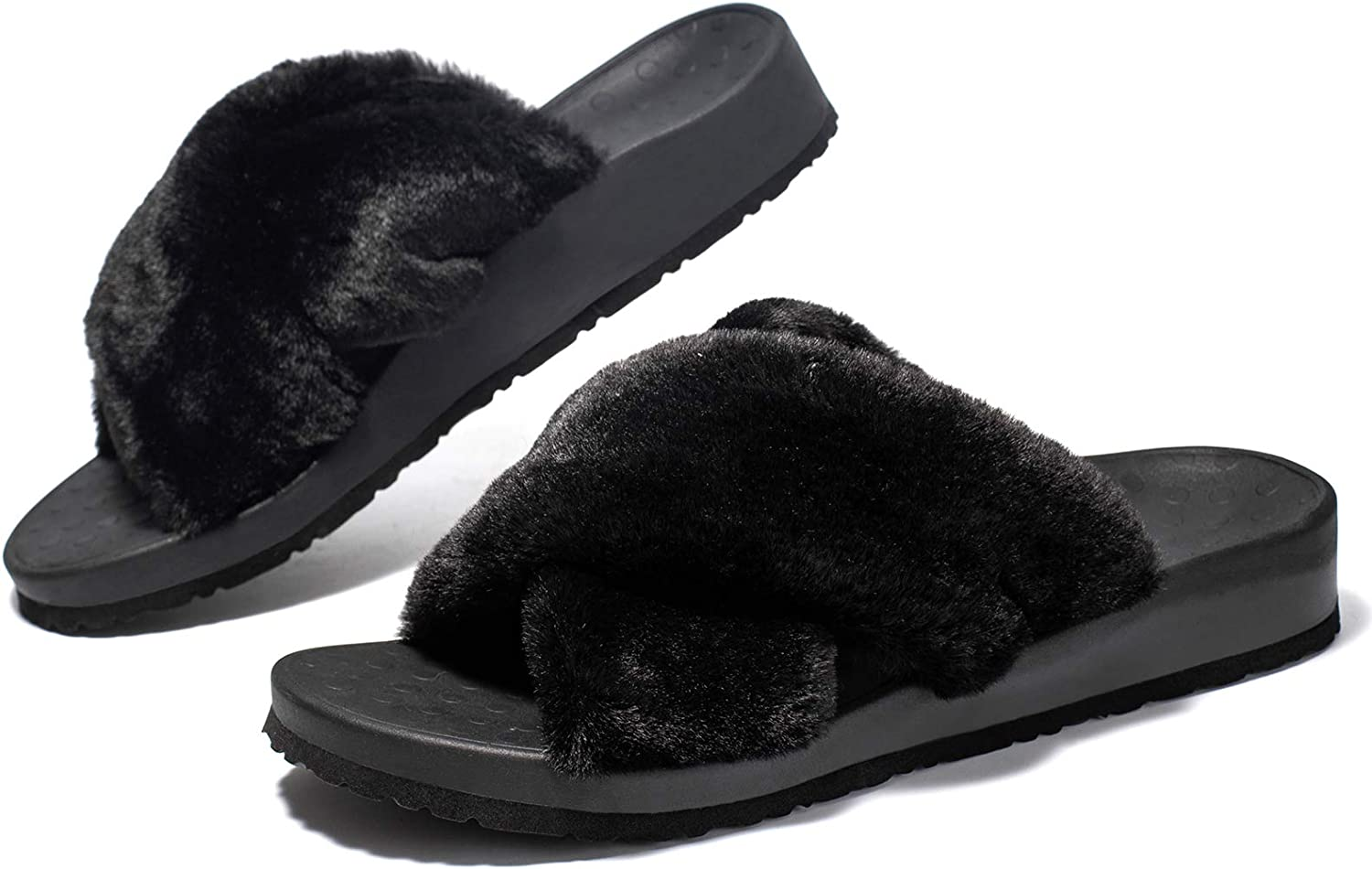 Womens Plantar Popular product Fasciitis Slippers trend rank with Fuzzy Fluf Open Cross Toe