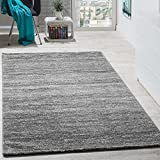 Paco Home Teppich Kurzflor Modern Gemütlich Preiswert Mit Melierung Grau Anthrazit Creme, Grösse:160x220 cm