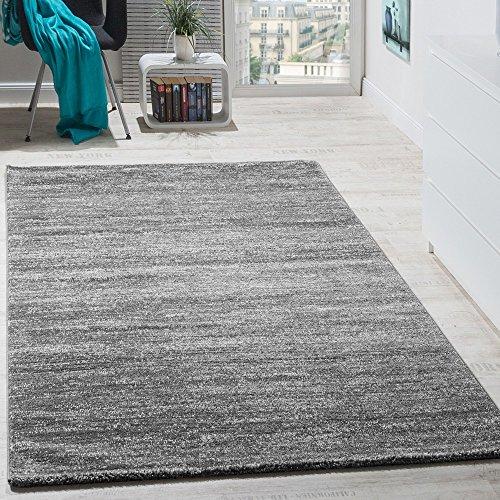 Paco Home Teppich Kurzflor Modern Gemütlich Preiswert Mit Melierung Grau Anthrazit Creme, Grösse:70x140 cm