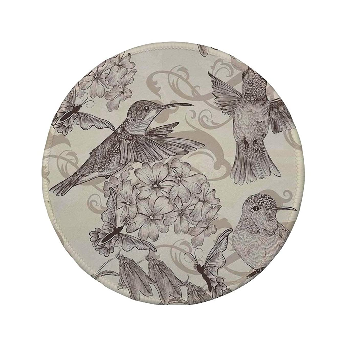 Non-Slip Rubber Round Mouse Pad,Hummingbirds Decor,Birds and Flowers Monochromic Classical Design Nostalgia Ornate Festive,11.8