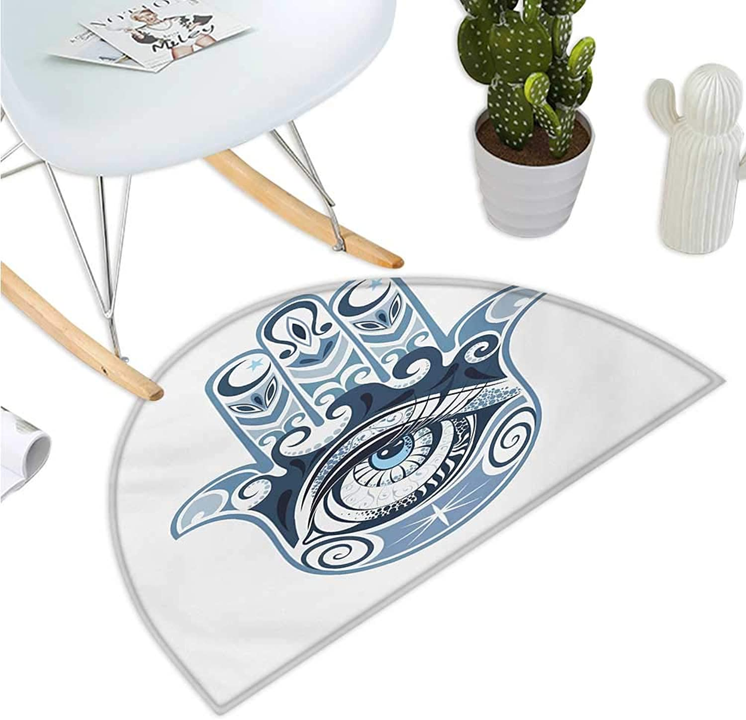 Evil Eye Semicircle Doormat Cultural Good Luck Amulet Hand Drawn Artsy Magical Superstitious Sacred Halfmoon doormats H 43.3  xD 64.9  Dark bluee Pale bluee