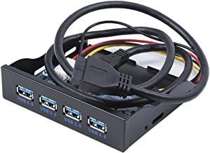 C-zone USB 3.0 4-Ports 3.5 inch Metal Front Panel USB Hub with 15 Pin SATA Power Connector [ 20 Pin Connector & 2ft Adapter Cable]