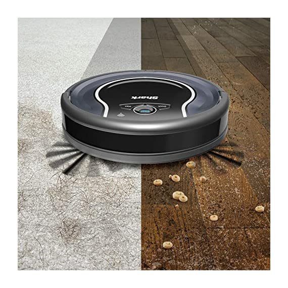 Shark ION Robot App-Controlled Robot Vacuum, RV761 - Black/Navy Blue (Renewed) 4 Schedule cleanings and control robot with Shark Clean(tm) app, Alexa, and Google Assistant. Powerful cleaning with more suction than Shark RV750. Multi-surface brushroll captures debris and hair on carpets and hard-floors.