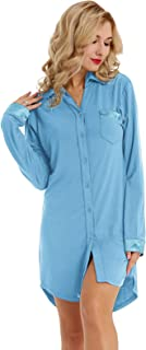 Women Long Sleeve Pajama Top Button Down Lapel Sleep Shirt Dress