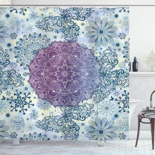 QDAS Mandala Mandala bloemendesign oosterse stijl uit het kant-en-klare oosten, stof badkamerdecoratie met haken