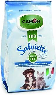 Camon Salviette Detergenti Per La Pulizia Del Pelo Fragranza Muschio E Aloe - 30x17 centimetres - Pezzi 100 Per Cani E Gatti