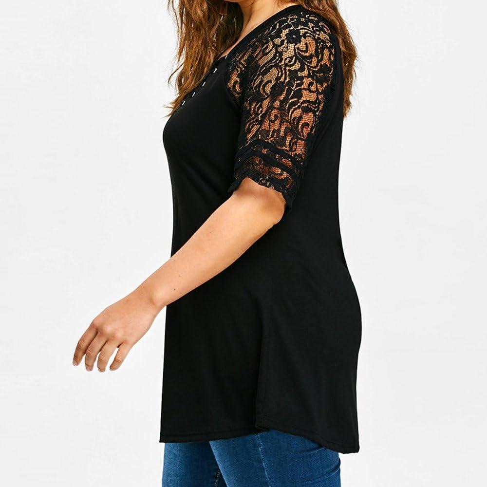 VJGOAL Damen Bluse, Frau Große Größe Mode Lace Long Sleeve Lässige unregelmäßige Solid T-Shirt Sommer Tops Bluse Frau Geschenk W-schwarz 2