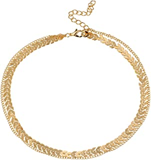 Yellow Chimes Women's/Girls Stylish Sequins Fish Bone Dual Layer Arrow Collares Gold Plated Base Metal Choker Necklace (Gold)