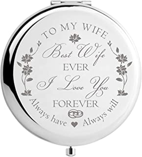 Wife Birthday Gift Ideas from Husband, Wife Gifts for Anniversary Christmas Valentines Day Mothers Day, Engraved Makeup Mirror for Her (Best Wife)