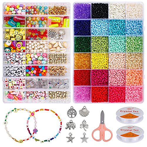 12000Pcs Glass Seed Beads for Bracelets Making, Beads Craft Kit Including Seed Beads, Letter Beads, Smiley Face Beads, Heart Beads, Gold Beads, Pendants, DIY Bracelet Beads for Jewelry Making.