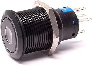 Lamptron Black Vandal-Resistant Switch, 22mm Face, Momentary Type, Dot Illuminated, UV LED