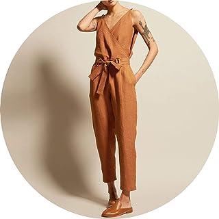 395f9051cb50 Overalls Women s Jumpsuits 2019 Vintage Linen Pantalon V Neck Sleeveless  Playsuits