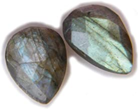 Thebestjewellery Faceted Labradorite cabochon Pair, 10Ct Natural Gemstone, Pear Shape Cabochon Pair for Jewelry Making (14x9x3mm) SKU-8989