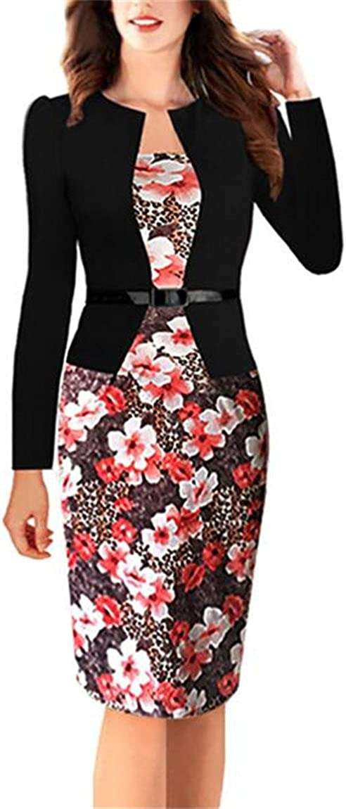 Allonly Flower Printed Wear to Work Business Party Bodycon One-Piece Dress