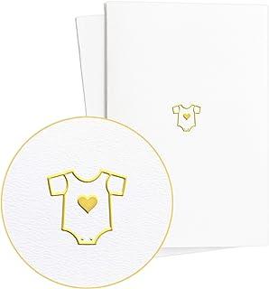 Diese - Klappkarten Glückwunschkarte Geburt|Geburtstagskarte und Geschenk zur Geburt für Junge oder Mädchen mit Strampler in Goldfolienprägung auf Strukturiertem Papier, E40