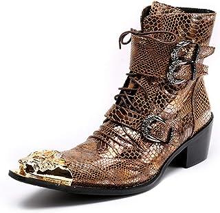 QZMX Boots Bottines pour Homme Haut Western Bottes De Cowboy Style Chaussures À Lacets en Métal Pointue Classique en Cuir ...