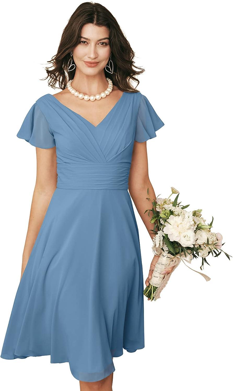 ALICEPUB V-Neck Chiffon Short Bridesmaid Sleeves with Dresses Many popular brands Charlotte Mall fo