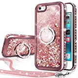 iPhone SE Case, iPhone 5S/5 Case, Silverback Moving Liquid Holographic Sparkle Glitter Case With Kickstand,Bling Diamond Rhinestone Bumper With Ring Protective Apple iPhone SE Case for Girls Women -RD