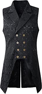 Nofonda Mens Gothic Steampunk Double Breasted Vest Brocade Waistcoat Tailcoat Vest VTG