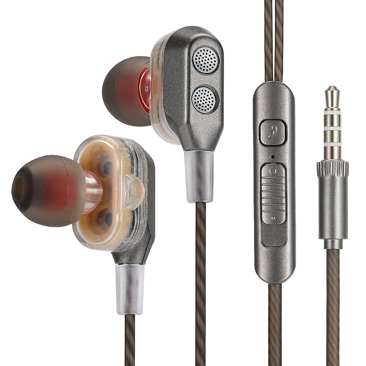 機転レギュラー自治ステレオ イヤホン 安い 高音質 重低音 通話可能 音量調整 ステレオイヤホン ハンズフリー iphone 1.2m iPod iPad iPhone Android設備対応 (グレー)