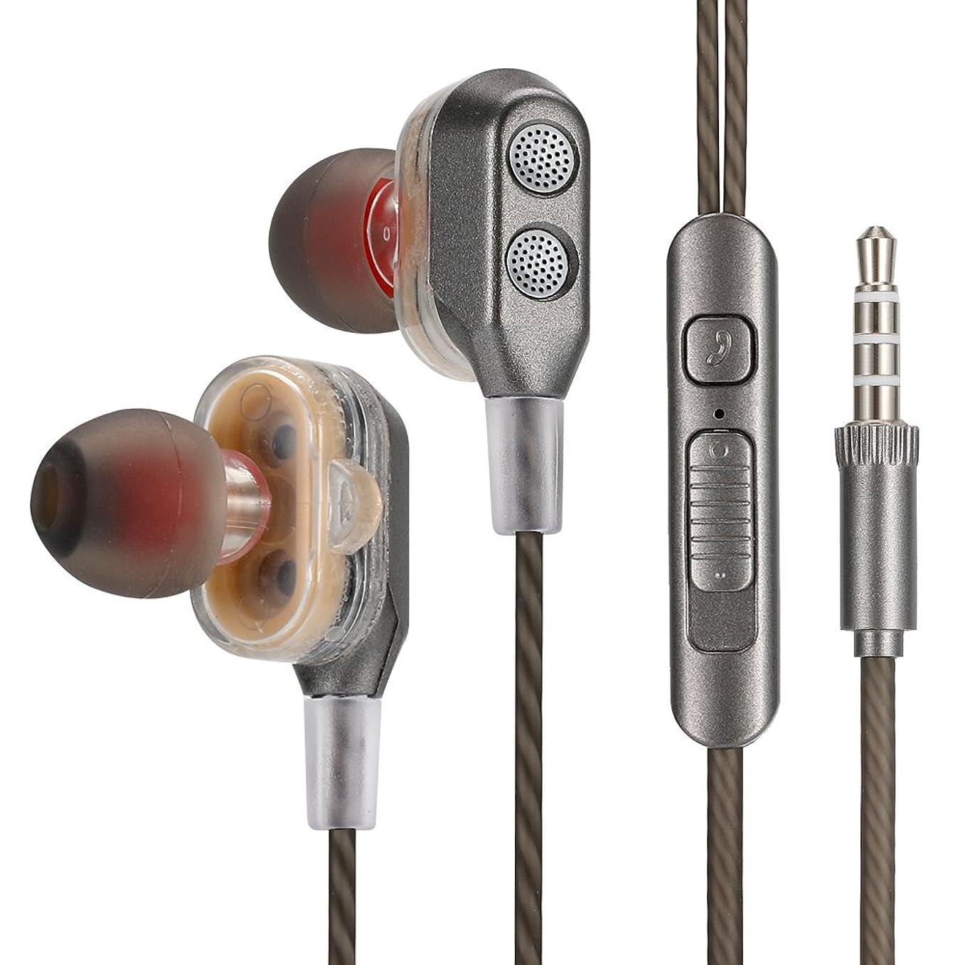 イベントモルヒネ地質学ステレオ イヤホン 安い 高音質 重低音 通話可能 音量調整 ステレオイヤホン ハンズフリー iphone 1.2m iPod iPad iPhone Android設備対応 (グレー)